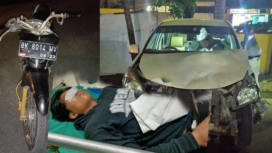 Kecelakaan Lalin Supra Versus Xenia di Simpang BDB Pematangsiantar
