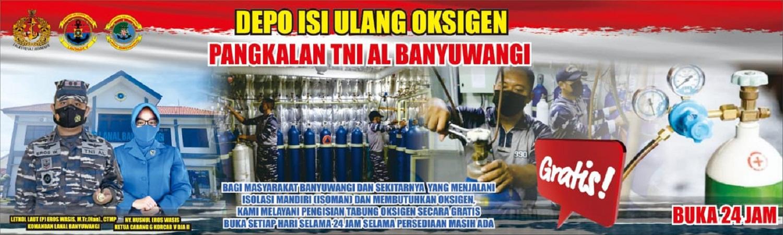 Pangkalan TNI AL Banyuwangi Launching Pengisian Tabung Oksigen Gratis 24 Jam Setiap Hari
